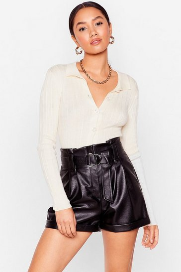 Black Petite Faux Leather Belted Shorts