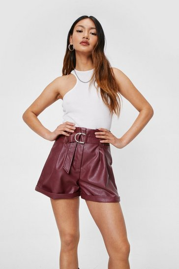 Burgundy Petite Faux Leather Belted Shorts