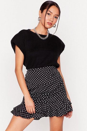 Black We've Spot It Good Petite Mini Skirt