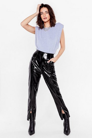 Black Croc Our World Petite Faux Leather Slit Pants