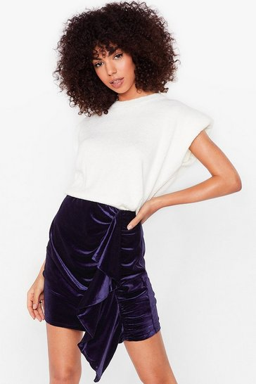 Navy Velvet High Waisted Ruffle Mini Skirt