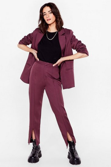 Mauve It Suits You Petite Slit Pants