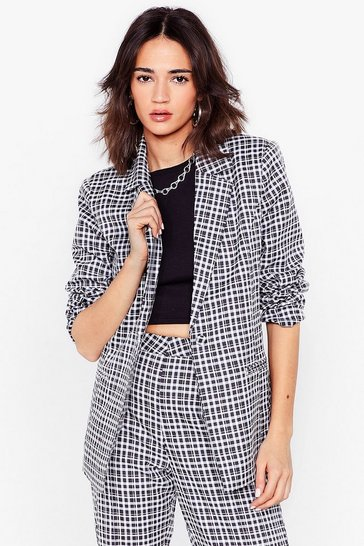Black Linear Up Petite Oversized Blazer