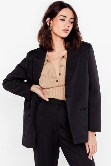 White Go Big or Go Home Oversized Petite Blazer