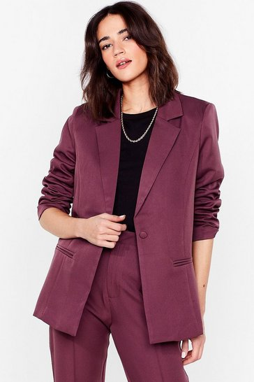 Mauve Go Big or Go Home Oversized Petite Blazer