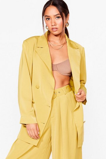 Chartreuse Business as Usual Petite Oversized Blazer