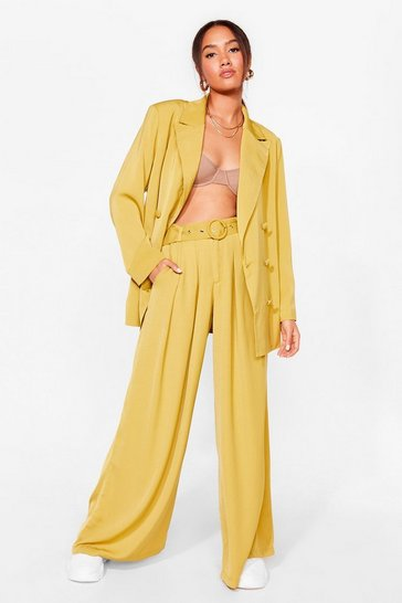 Chartreuse Business As Usual Petite Wide-Leg Belted Pants