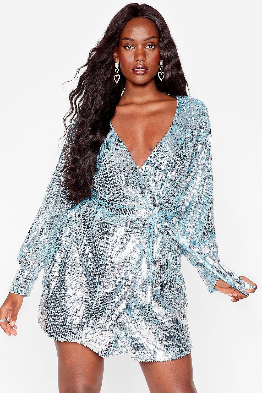 Sequin 'Em Over Plus Belted Wrap Dress 4