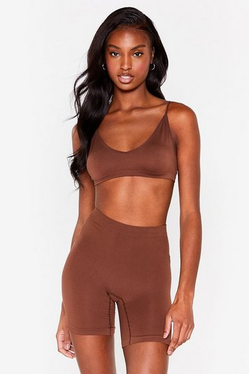 Chestnut Seamless Nights High-Waisted Biker Shorts