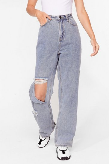 Blue Relaxed Ripped Straight Leg Jeans