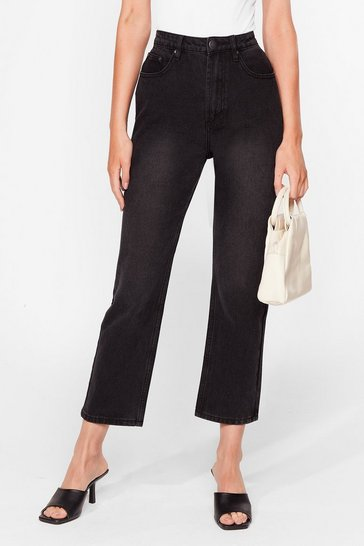 Black Acid Wash Cropped Straight Leg Jeans