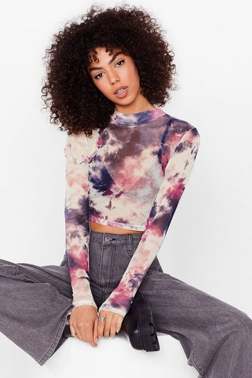 Mauve Give It Your Mesh Shot Tie Dye Crop Top