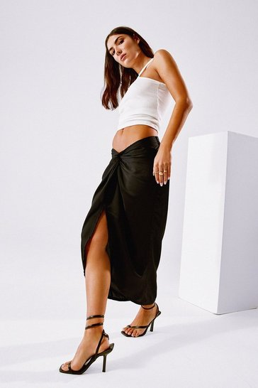 Black Truly Madly Deeply Satin Midi Skirt