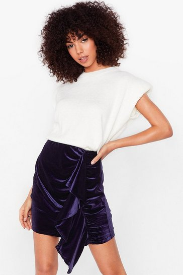 Blue Can You Feel It Velvet Mini Skirt