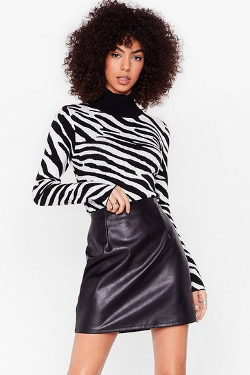 Black Baby Got Back Faux Leather Mini Skirt