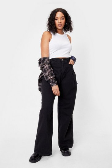 Grey Plus Size Relaxed Wide Leg Jeans