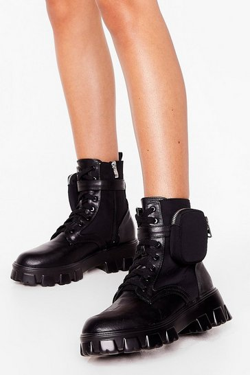 Black Hard to Pocket Faux Leather Cleated Boots