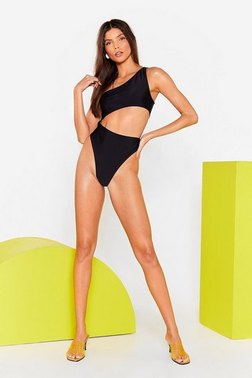 Black Torso Cut Out One Shoulder Swimsuit