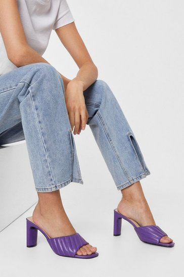 Purple Quilt to Last Faux Leather Heeled Mules