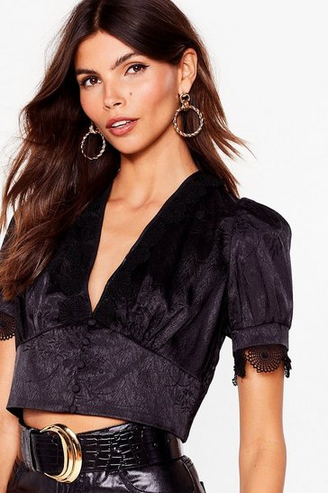 Black Lace Get Drinkin' Satin Cropped Blouse