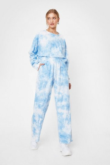 Pale blue Nasty Gal Tie Dye Wide Leg Loungewear Set