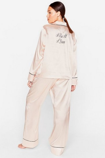 Champagne It Was All a Dream Plus Satin Trousers Pyjama Set