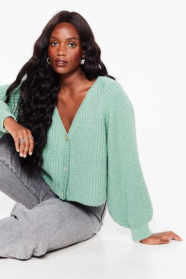 Aqua Plus Size Fluffy Knit V Neck Cardigan