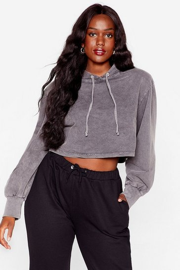 Grey Acid Wash Your Tone Plus Cropped Hoodie