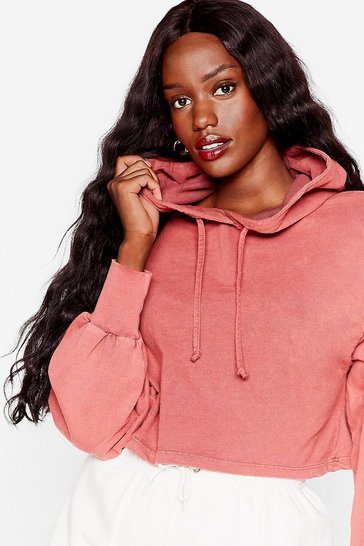 Rose Acid Wash Your Tone Plus Cropped Hoodie