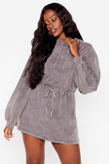 Grey Acid Wash Your Tone Plus Hoodie Dress