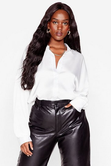 Rust Smooth Operator Plus Satin Oversized Shirt