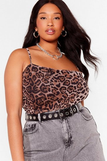 Black Plus Size Leopard Mesh Bodysuit