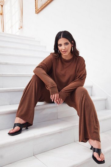 Chocolate You and I Plus Ribbed Top and Pants Set