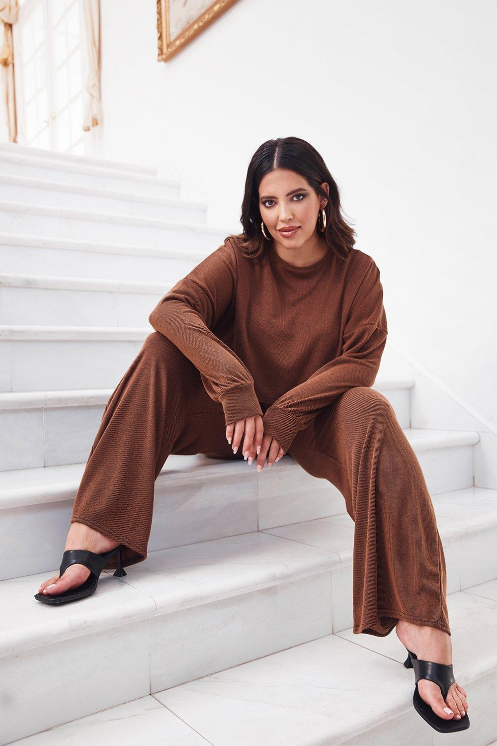 You and I Plus Ribbed Top and Pants Set 18