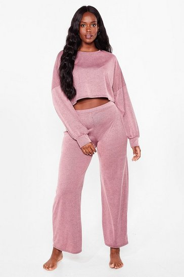 Pink Plus Size Ribbed Crop Top and Pants Set