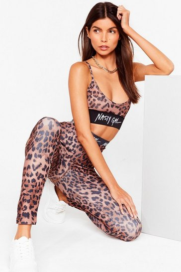 Brown Nasty Gal Word on the Street Leopard Leggings