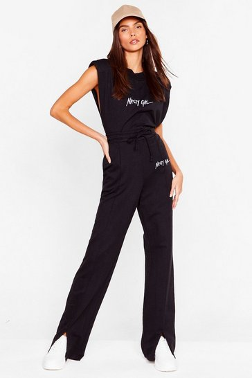 Black Nasty Gal Word on the Street Wide-Leg Pants Set