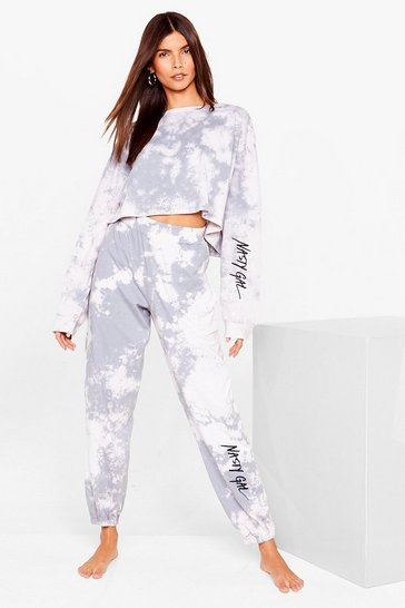 Grey Nasty Gal Word on the Street Tie Dye Jogger Set