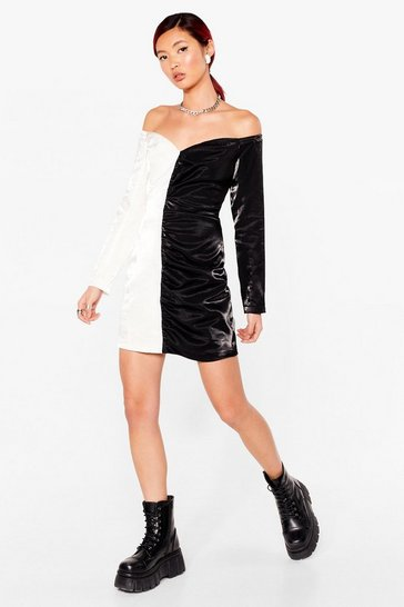 Black The Half of It Off-the-Shoulder Two-Tone Dress