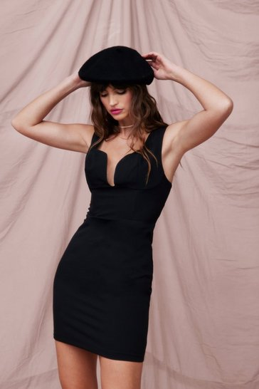 Black Cup All Night Plunging Mini Dress