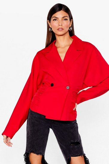 Red Ruched Double Breasted Batwing Blazer