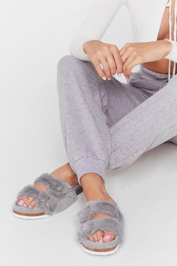 Grey On Your Feet Faux Fur Double Strap Sandals