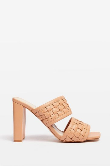 Beige The Woven Moment Faux Leather Heeled Mules