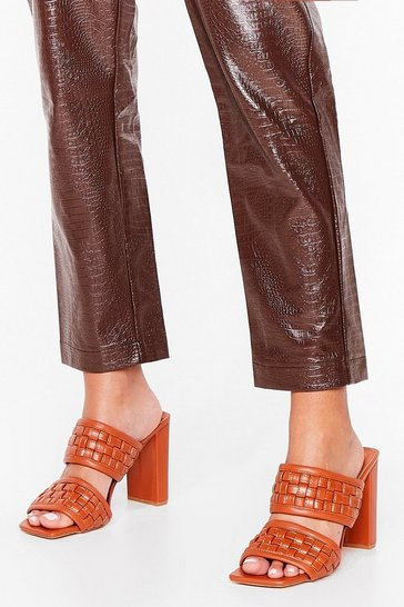 Brown The Woven Moment Faux Leather Heeled Mules