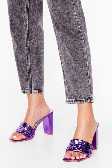 Purple Feeling the Love Metallic Heeled Mules