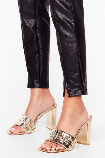 Gold Feeling the Love Metallic Heeled Mules
