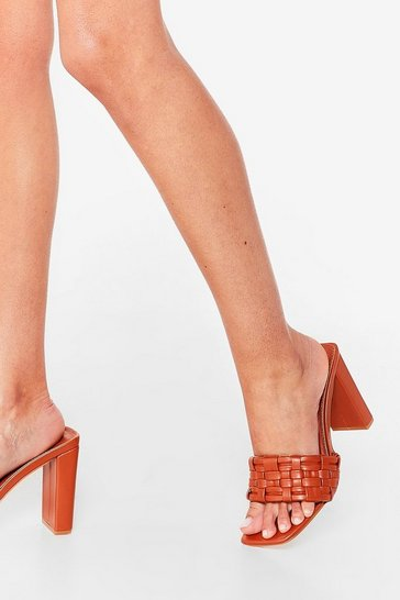 Tan The Woven One Faux Leather Heeled Mules