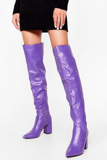 Purple Pointed Faux Leather Over the Knee Boots