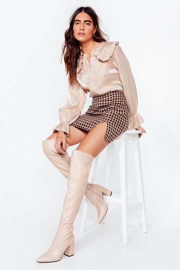 Beige Shoe Cares Over-the-Knee Heeled Boots