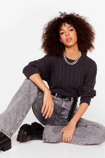 Charcoal Knit's Gettin' Colder Ribbed Sweater